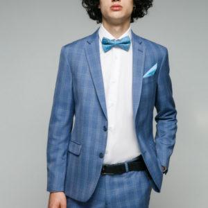 HOPKINS Мужской костюм голубой в клетку.